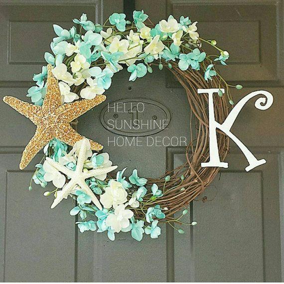 The Original Beach Monogram Wreath Summer by HelloSunshineHomeDec