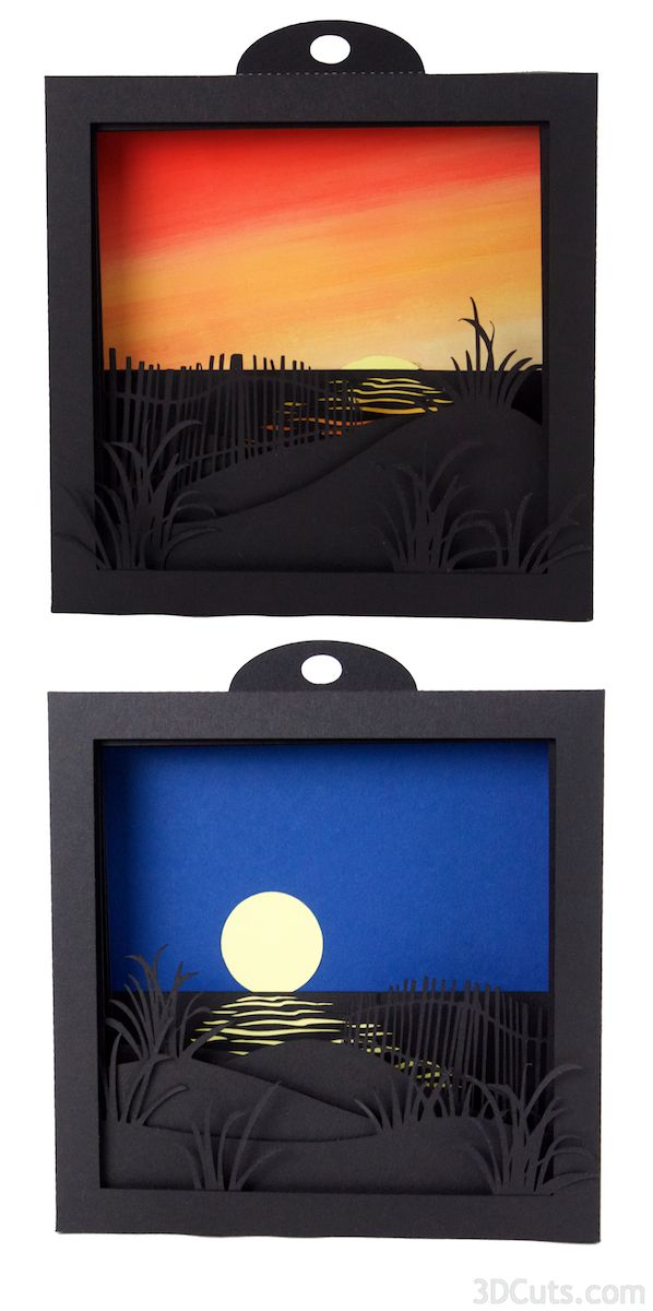 "This download contains the cutting files for both the Moonrise and the  Sunrise  5 layered shadow boxes. Each scene is a glorious view over the  dunes and out upon the ocean.  Each finished design is about 6"" square. The  files come in SVG, PDF, DXF formats for use with either the Silhouette"
