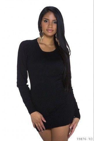 Μπλουζοφόρεμα με ανάγλυφα σχέδια - Μαύρο