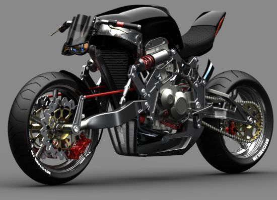 """Fallout by William Woods ~ Designed as a tribute to the classic chopper, the """"Fallout"""" by William Woods is a concept motorbike executed with the street-fighter ethos of function over form. Combining a single sided swingarm with a Bimota sourced frame, the futuristic motorcycle creates an exclusive hub-centered steering for a steaming yet smooth ride."""