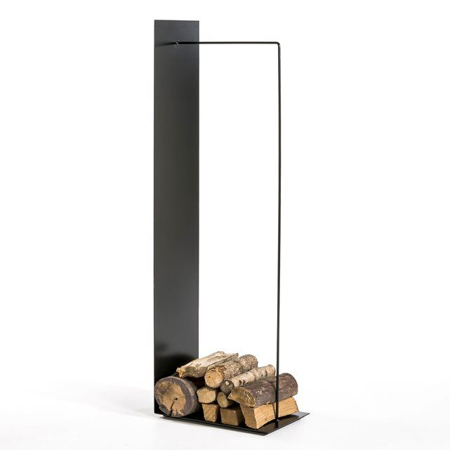 BUSTER Wall-Mounted Log Basket AM.PM. : price, reviews and rating, delivery. Log basket in black epoxy coated metal. 50 x D30 x H150 cm. Must be fixed to the wall.