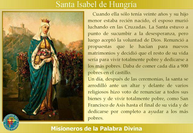 MISIONEROS DE LA PALABRA DIVINA: SANTORAL - SANTA ISABEL DE HUNGRÍA