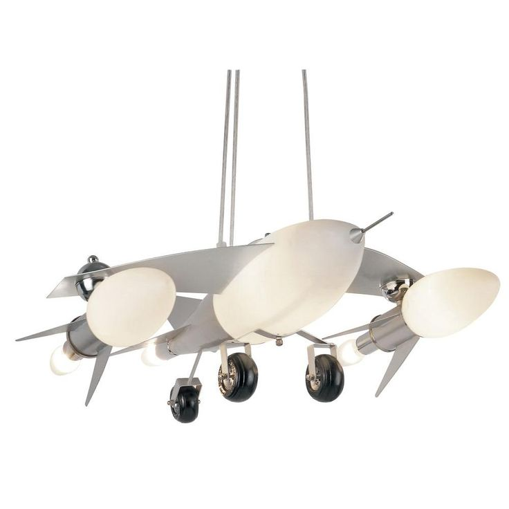 Bel air lighting jet airplane 6 light frosted glass pendant with silver frame airplane lightsairplane ceiling fanboys