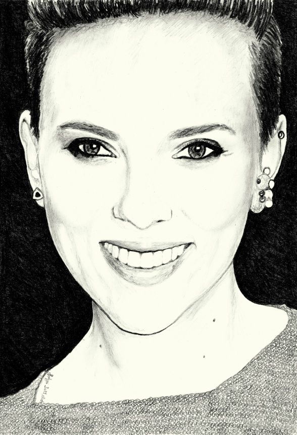 scarlett johansson pencil portrait