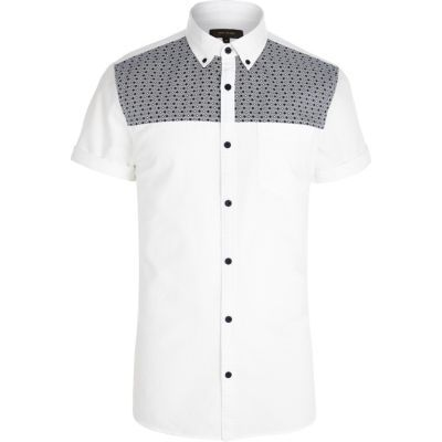 White tile print panel Oxford shirt in River Island.