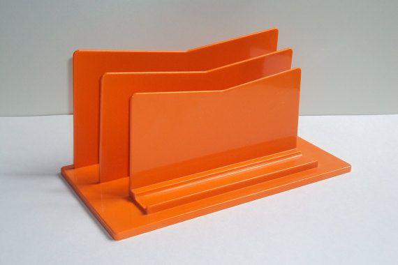 Porte lettres/trieur de courrier, en plastique ABS, orange, de bureau, range papiers, documents, de rangement, classement, design