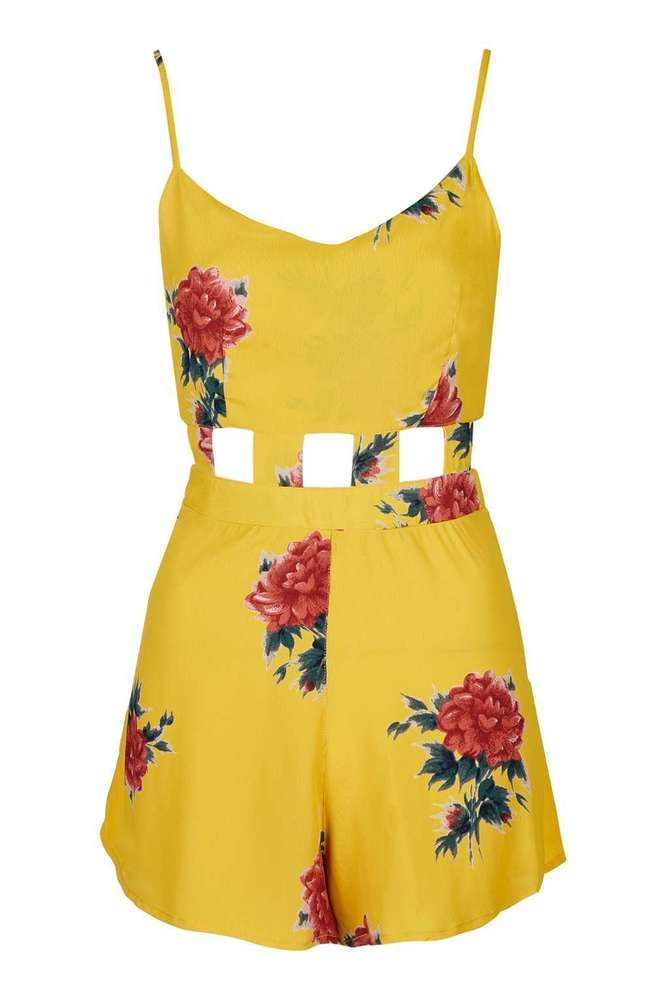 NEW TOPSHOP CELEBRITY YELLOW FLORAL CUT OUT PLAYSUIT 6 to 14 RRP £39