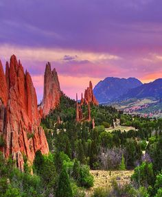 ✿ ❤ Garden Of The Gods ,Colorado , USA - The Garden of the Gods red rock formations were created during a geological upheaval along a natural fault line millions of years ago. Archaeological evidence shows that prehistoric people visited Garden of the Gods about 1330 BC. At about 250 BC Native American people camped in the park.