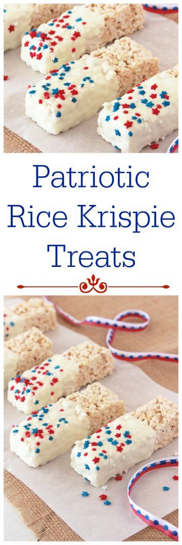 Patriotic Rice Krispie Treats on www.cookingwithruthie.com will get you and the kiddos in the mood for a summer-time treats!