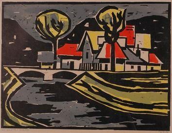 Milan Paštéka, Krajina s mostom, kombinovaný linoryt, 43x53cm (plus pasparta a rám), signovaný ceruzkou vpravo dole, 27/50, cena 520€