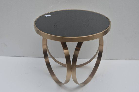 Round Rose Gold Glass Side Table