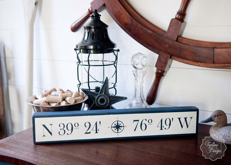Custom Made Nautical Sign (with YOUR Home's Latitude and Longitude) by ToplineDesignLLC on Etsy https://www.etsy.com/listing/253597746/custom-made-nautical-sign-with-your