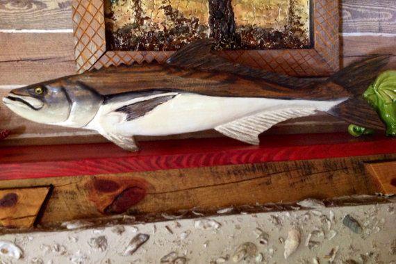 """Cobia móvil 40"""" madera cara dos peces motosierra talla colgando de la pared rústica arte hogar náutica deportiva pesca decoración interior al aire libre playa casa rural"""