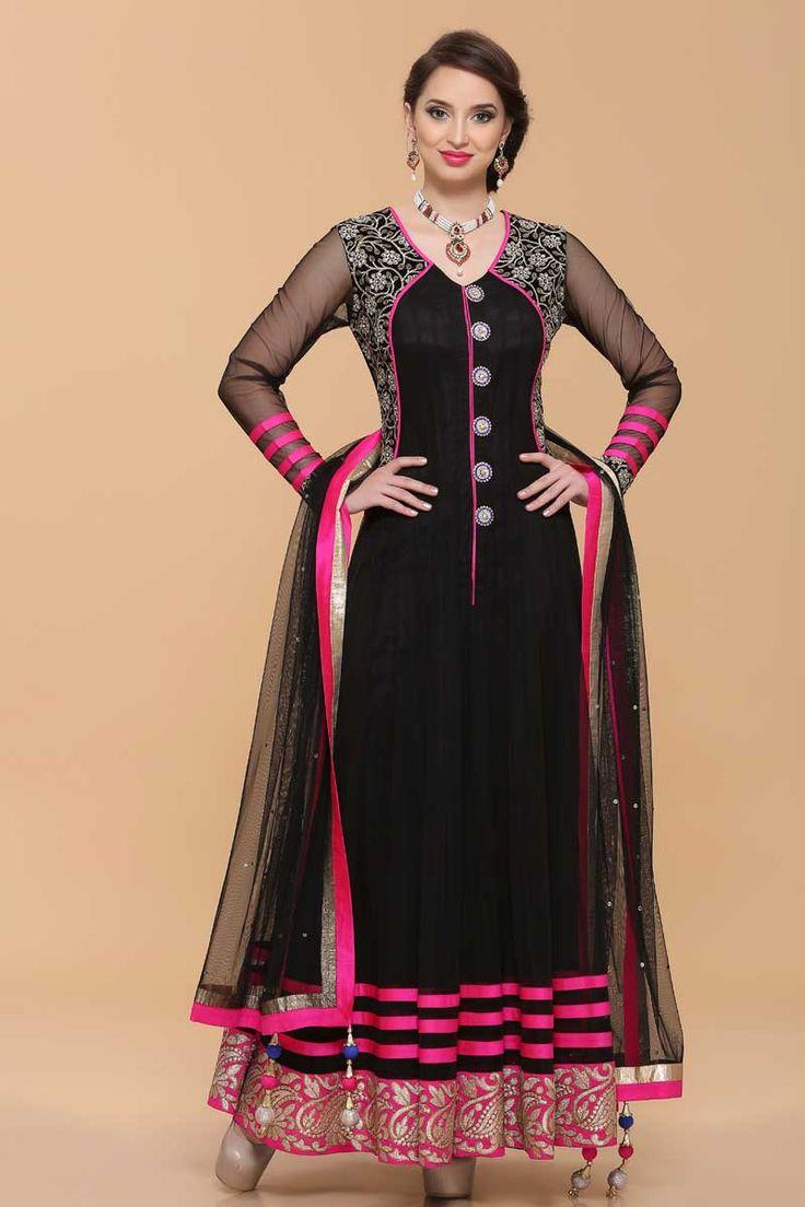 Andaaz Fashion Presented By Black net Anarkali suit. Neckline & daman embroidered with zari work, zircon embellished buttons. Net dupatta & shantoon churidar with price $137.21  http://www.andaazfashion.us/black-net-anarkali-suit-1630.html