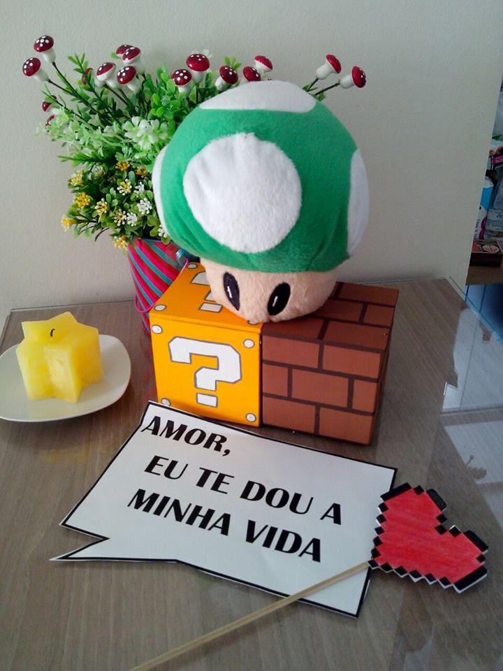 surpresa nerd para o namorado nerd Dia dos namorados geek Tema Mario