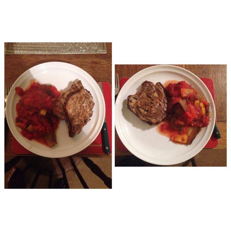 Tonight's dinner pork with baked aubergine,tomato and pepper bake