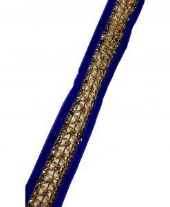 Rubans galon Indien Bleu roi doré 3 cm X 1 M Customisation textile