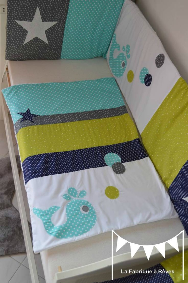 couverture bébé baleine étoiles vert anis bleu turquoise bleu marine gris blanc - linge lit bébé turquoise anis gris blanc 2