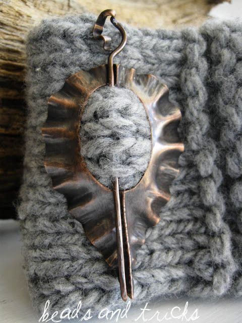 Foldformed copper shawl pin. Handmade by Beads and Tricks