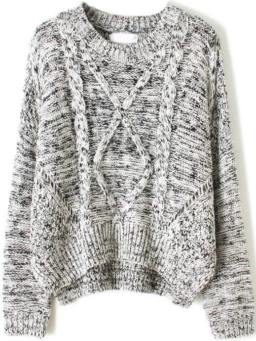 Grey Long Sleeve Cable Knit Dipped Hem Sweater US$40.33