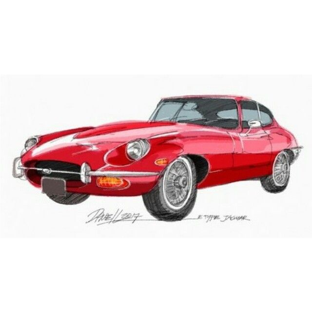Free hand sketch on my iPad. One of my all time favorite cars, E Type Jaguar!