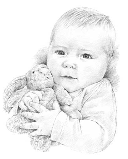 Baby with bunny pencil drawing by Margaret Scanlan