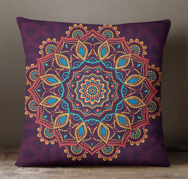 S4Sassy Purple Pillow Case Mandala Printed Decorative Throw Cushion Cover