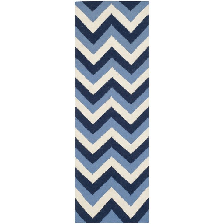 Dhurries Navy / Light Blue Chevron Area Rug