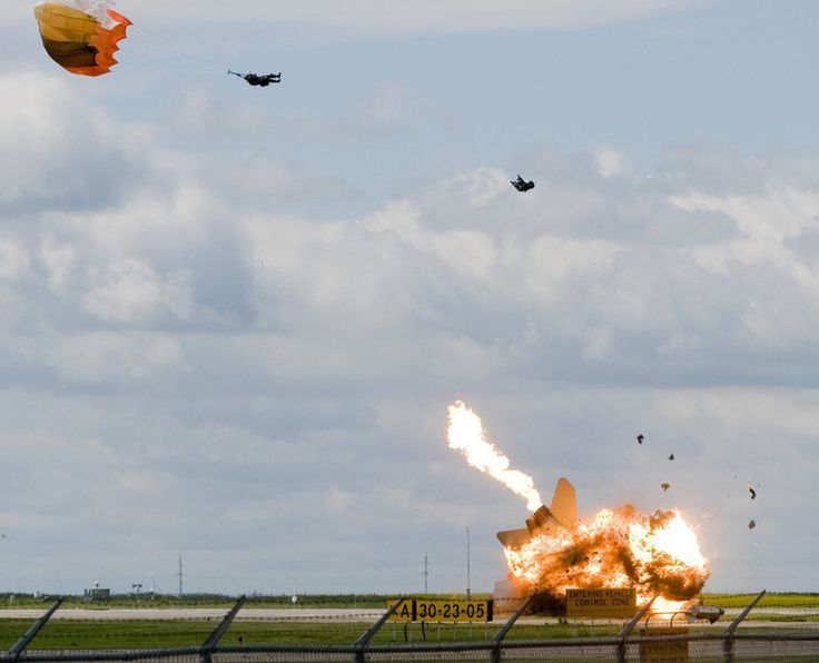 A pilot ejects moments before his plane crashes in Alberta, Canada.
