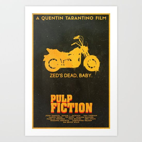 pulp fiction zeds dead classic cult action blood gun motorcycle quentin tarantino samual l. jackson john travolta gold 666 uma therman vintage retro aged 60s 70s 80s 90s big mac graphic art digital poster film movie cinema