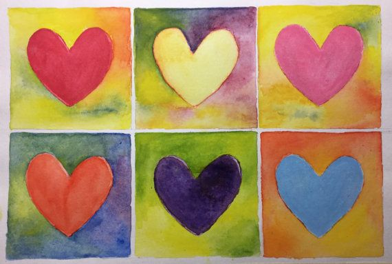 Colours of Love. 6 Hearts 6 Colors. From passion to friendship, the heart is the symbol of love. I love the vibrant colours. by TinkerTailorDesign
