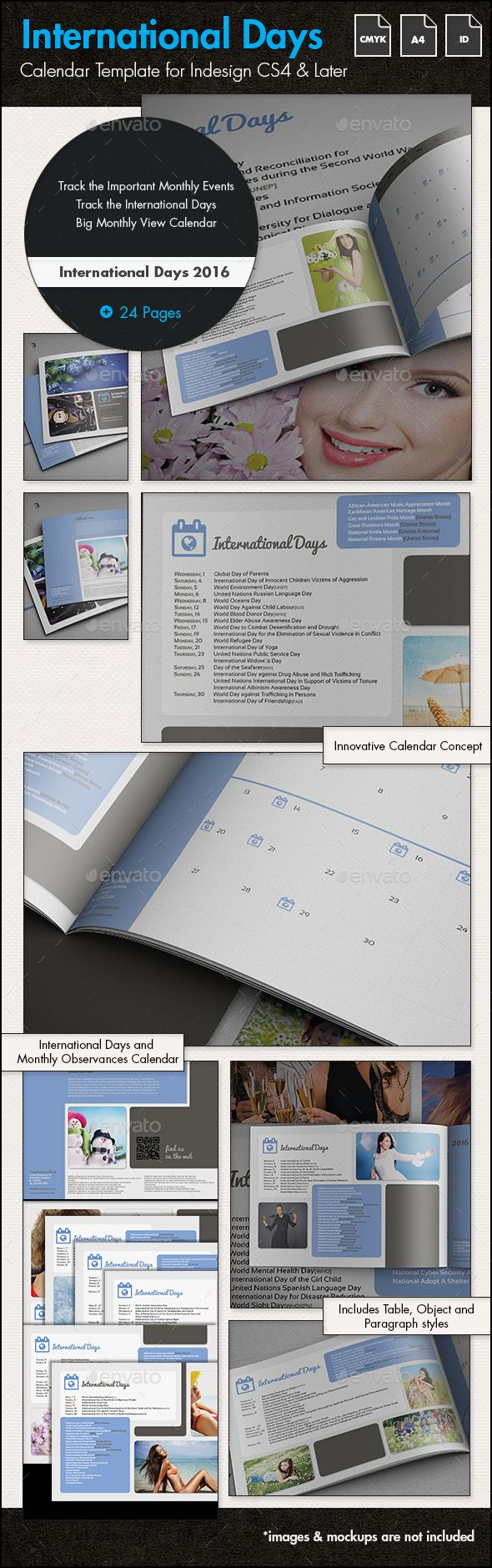 International Days Calendar 2016 - A4 Landscape - Calendars Stationery