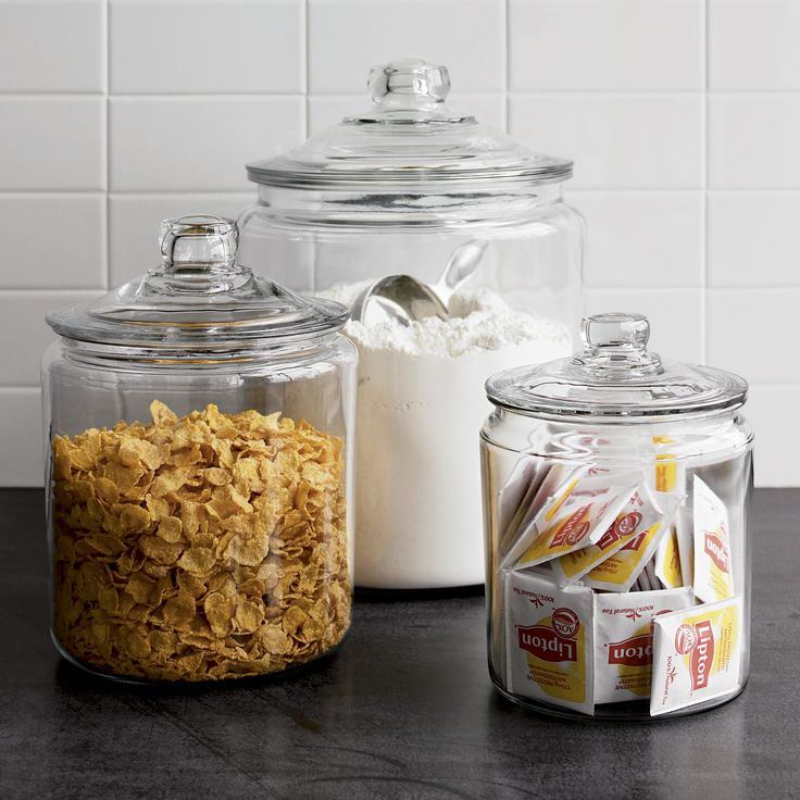 A refresher course in retro storage and service. These classic lidded glass jars have been in production since the 1940s, the perfect see-through container for snacks or for ladling up beverages like lemonade or sangria.