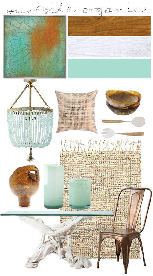 natuurlijke materialen en kleur accenten: blauw, koper, oranje