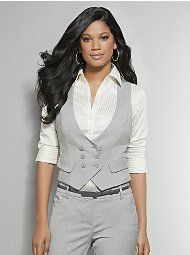Grey Double-Breasted City Double Stretch Vest    $39.95