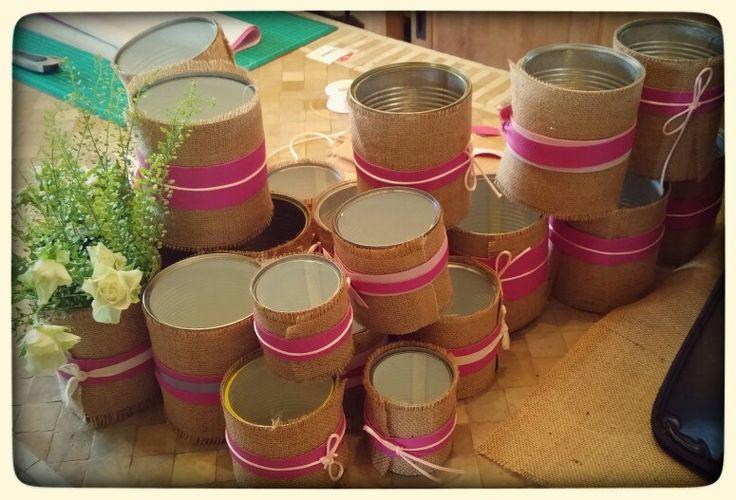 Vases de table: Conserves- toile de jute- rubans