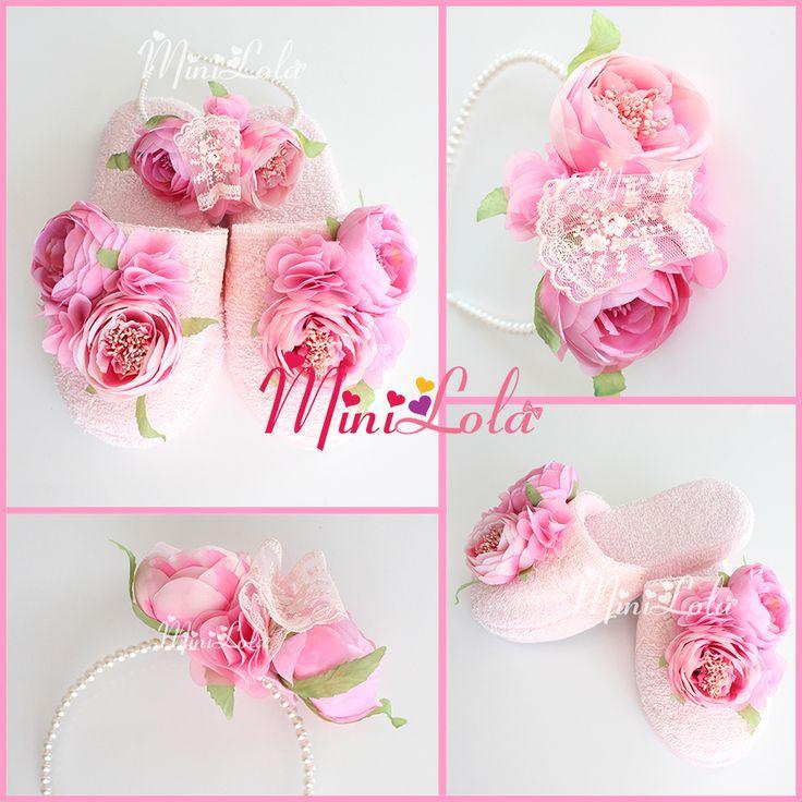 Pembe şakayık güllü şifon çiçekli dantelli lohusa seti