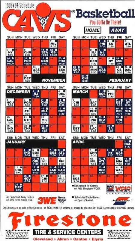 1993-94 Cleveland Cavaliers Magnet Schedule #MagnetSchedule