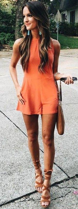 #summer #american #style | Orange Playsuit