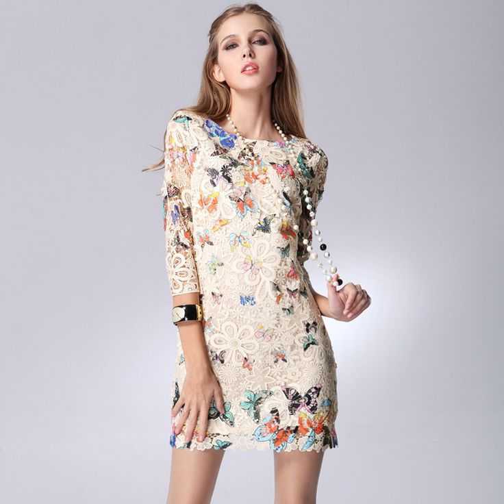 High Street Fashion Summer Autumn Women Lace Casual Dress Butterfly Print Vestidos de Renda Plus Size XXL New Designer 88500-in Dresses from Women's Clothing & Accessories on Aliexpress.com   Alibaba Group