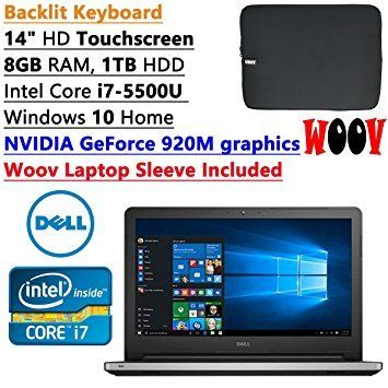 Newest Dell Inspiron High Performance 14 inch HD Touchscreen Backlit Keyboard Laptop PC| Intel Core i7-5500U Dual-Core| NVIDIA GeForce 920M graphics| 8GB RAM| 1TB HDD| Windows 10| Woov Laptop Sleeve * For more information, visit image link.