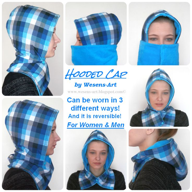 "This ""Hooded Cap"" can be worn in 3 different ways! It's suitable for women and men, and it's also reversible. Can be sewn in under 1 hour. Super easy to finish.:"