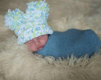 Pom pom baby hat, Double pom pom baby hat, soft baby pom pom hat, baby boy pom pom hat, Blue pom pom hat, baby photo props, baby boy
