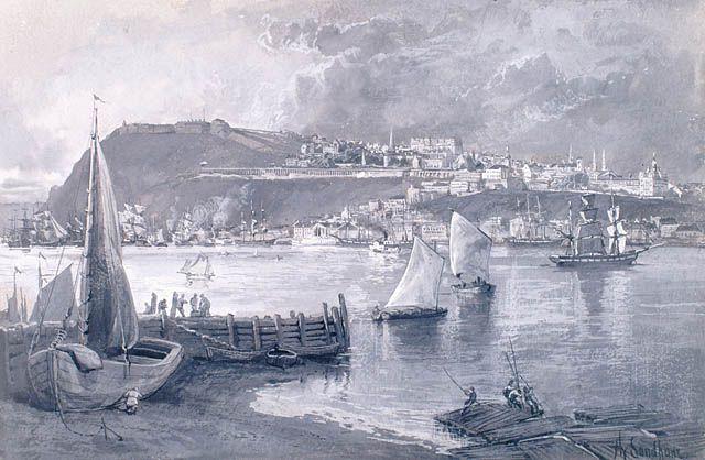 La ville de Québec vue de la rive sud du fleuve Saint-Laurent, ca 1880. Bibliothèque et Archives Canada, no d'acc 1970-188-2236.