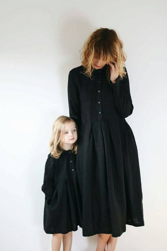 Black Linen Matching Dresses Matching Mother and por OffOn en Etsy