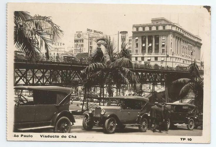 Cartão Bilhete Postal - Viaduto Do Chá Com Carros Antigos - R$ 50,00 em Mercado Livre