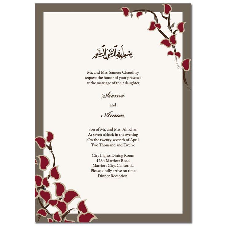 Muslim Wedding Invitations Arabic Stems Rectangle- Classic Collection