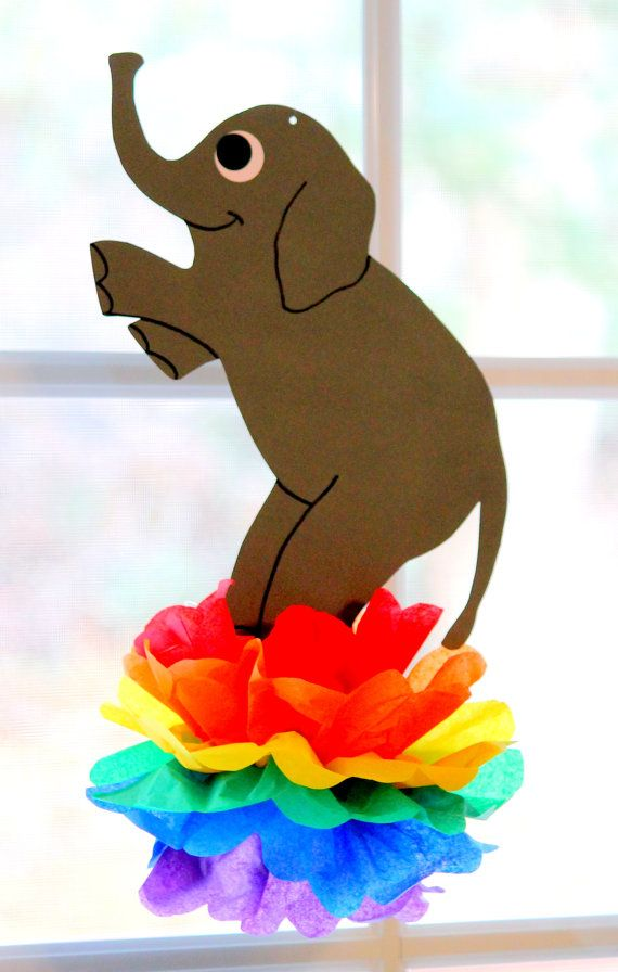 Circus Carnival Fair pom pom decorations SET OF TWO, seal balancing ball, elephant on ball. $14.99, via Etsy.