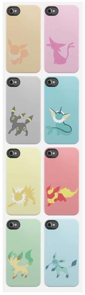 Pokemon iPhone Cases // The Evolutions of Eevee. OH.EM.EFF.GEE. I want these so bad... If only they were made for Samsung galaxies instead! >: