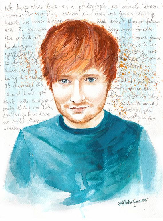 Ed Sheeran Watercolour Portrait with Photograph by WaterLyrics